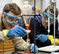 Students in the chemistry lab.