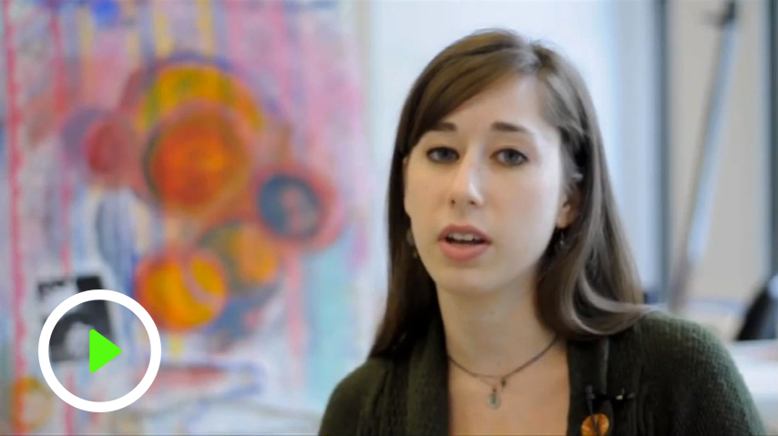 video screen capture of art student