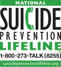 National Suicide Prevention Lifeline 1-800-275-TALK (8255) suicidepreventionlifeline.org