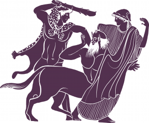 An adapted vase image of Heracles rescuing Deianeira from the centaur Nessus
