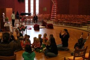 Randolph College Nursery School students meet the Buddhist monks.