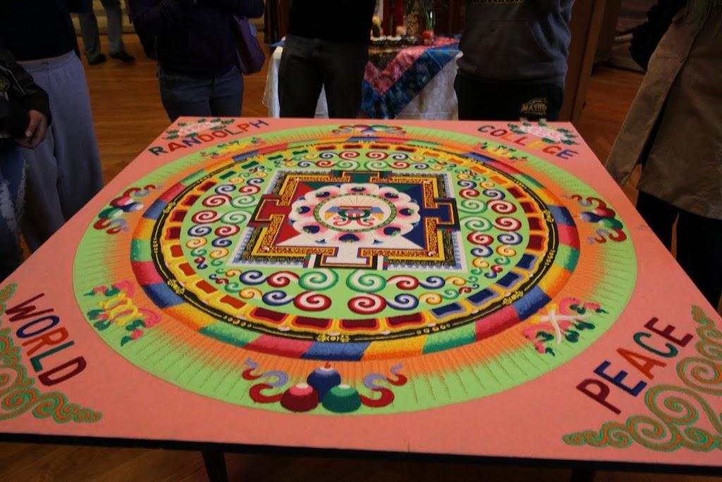 Sand mandala created at Randolph College by the Tashi Kyil monks.