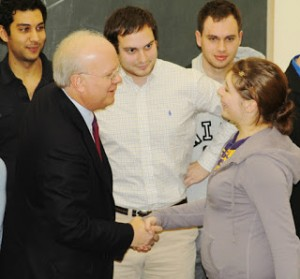 Rove greets students