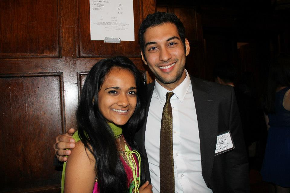 Youssef Alkei pauses for a picture with Aishani Bansal, director-general of the organizers of the Cornell International Affairs Conference.