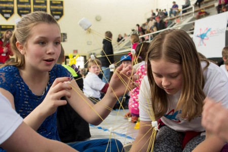 Using marshmallows and spaghetti noodles, Science Festival participants tried to build the tallest tower possible.