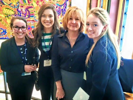 (left to right) Sarah Terlizzi '15, Erica Quinby '17, Professor Jennifer Dugan, and Monica Ashby '15.
