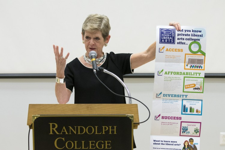 Georgia Nugent, former president of Kenyon College and a senior fellow for the Council of Independent Colleges, addresses the 2015 Heick Symposium on College Admissions.