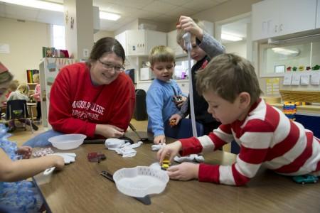 Randolph Preschool staff works with kids