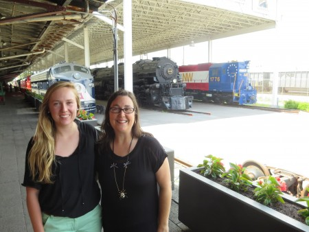 Addie Moore '17 met alumna Courtney Plaster '91 during a visit to the Virginia Museum of Transportation in Roanoke.