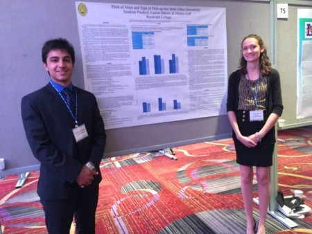 Sandeep Poudyal '16 and Lauren Mason '16 stand with their poster at the Association for Psychological Science meeting in New York City.