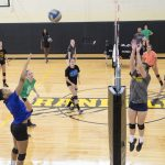 High School volleyball players participate in Randolph's Overnight Advanced Skills Camp.