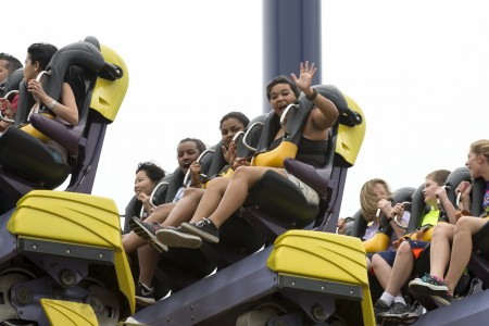 Students ride a rollercoaster at Kings Dominion.