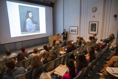 "Sir Nicholas Penny discusses ""Giorgione and Early Titian"" paintings with the Venice and the Renaissance art class."