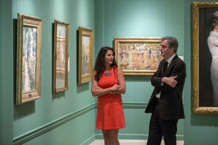 Sir Nicholas Penny tours the Maier Museum of Art at Randolph College with its director, Martha Johnson.
