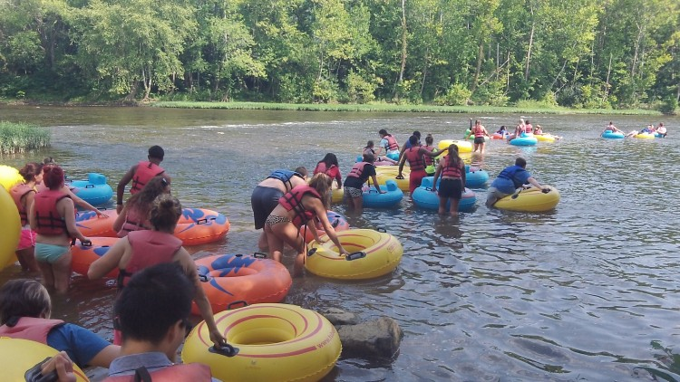 First-year students tubed down the James River Saturday as part of orientation.