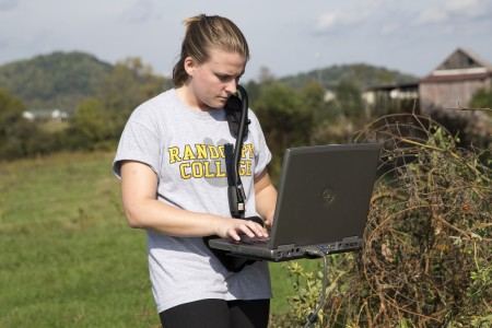 Sara Woodward '16 uses the GPR system to track differing soil depths at the site.
