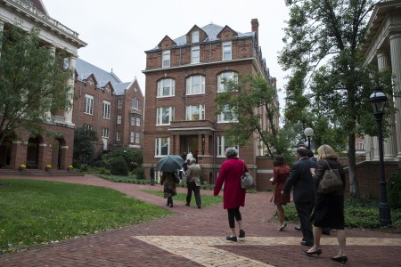 Guests enter Wright Hall for tours and a dedication ceremony following completed renovations.
