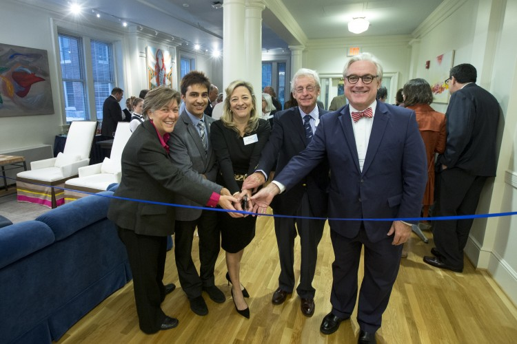 "Cutting the ribbon, from left, are: Matha Thornton, vice president for student affairs and dean of students; Sandeep Poudyal '16, Student Government president and head resident of Wright Hall; Susan Braselton Fant '84; Lester ""Ruff"" Fant; and President Bradley W. Bateman."