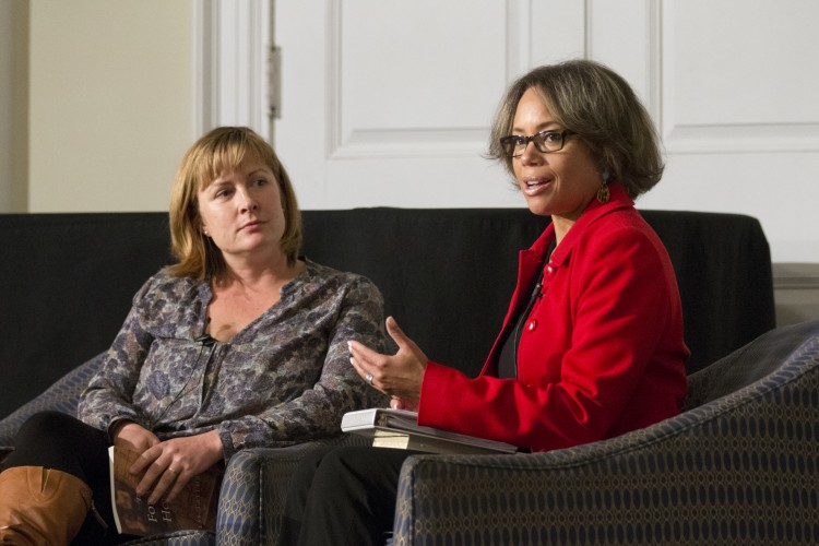 Gayle Jessup White (right) and Tess Taylor discuss racial issues in America during Randolph's Relatives and Strangers program Wednesday.