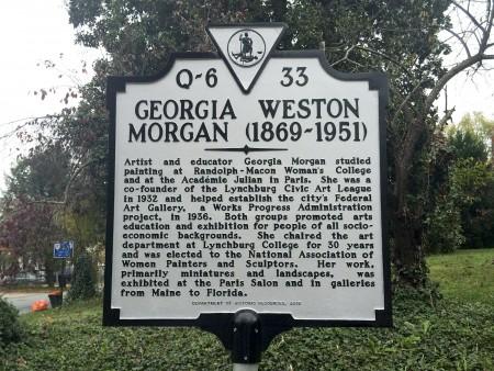 Plaque in memory of Georgia Weston Morgan
