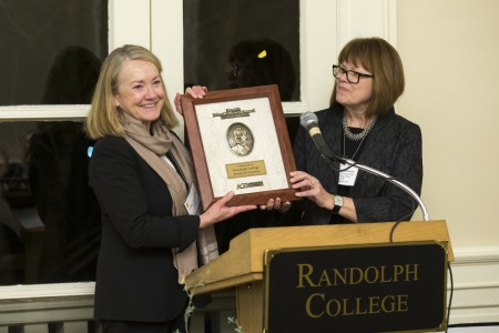 Cathy Havener Greer '73 (left), chair of the Randolph College Board of Trustees, accepts the award from Susan Johnston, executive vice president and COO of the AGB.