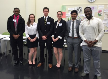 Members of the 2016 Randolph College Ethics Bowl team included: from left) Jordann Pruitt '19, Grace Cummins '16, Donald Saltmarsh-Lubin '16, Kati Biggs '18, Tahan Menon '16, and Igor Ngabo Rwaka '18.
