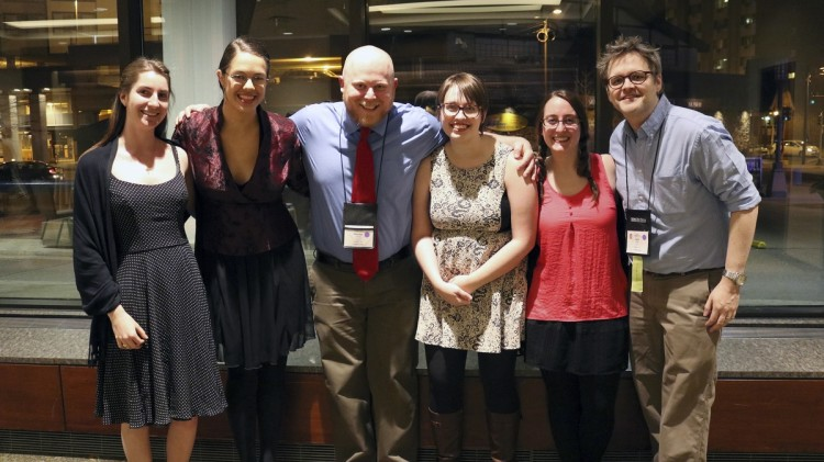 Attending the Sigma Tau Delta International Conference were (from left) Elizabeth Dean '16, Lindsay Brents '16, Nikolas Oliver '16, Katy Boyer '16, Miranda Stumpf '16, and English professor Gary Dop.