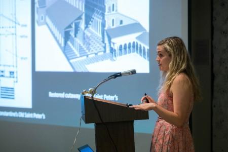 Elisabeth Price '16 delivers a presentation about her senior paper.