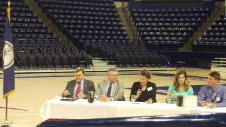 Jessy Spencer '18 speaks on the panel for the Virginia Power Dialog in Richmond.