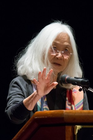 Maxine Hong Kingston delivers her address after receiving the Pearl S. Buck Award.