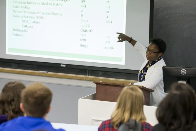 "Tia Stokes-Brown '97 goes over data from her research, entitled ""The Increasing Significance of Race: Exploring the Development of Latino Racial Group Consciousness and the Link to Political Participation."""