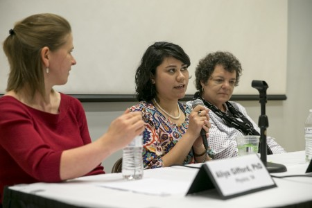Aneliese Apala '11 speaks during the panel discussion.