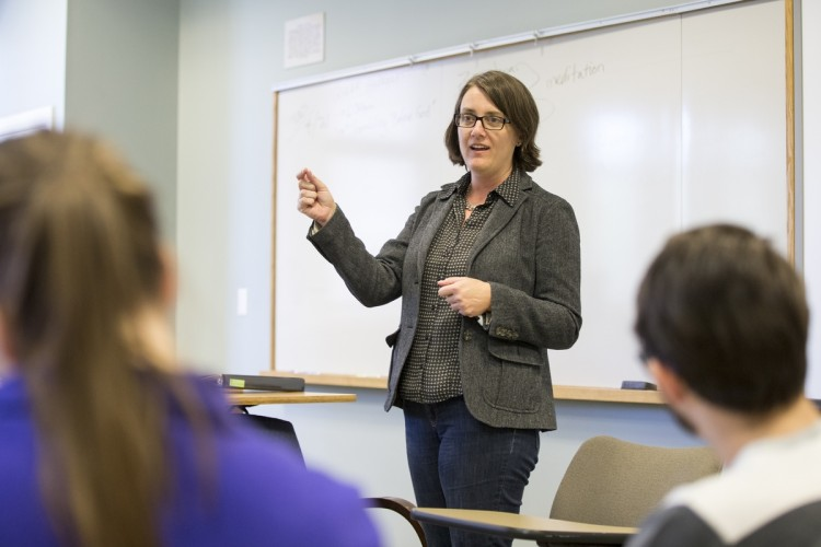 Suzanne Bessenger leads a discussion during one of her religious studies courses at Randolph.