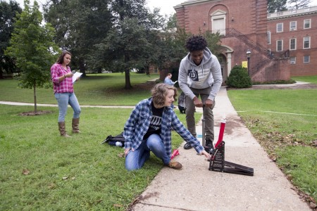 Randolph science students launch rockets on front campus.