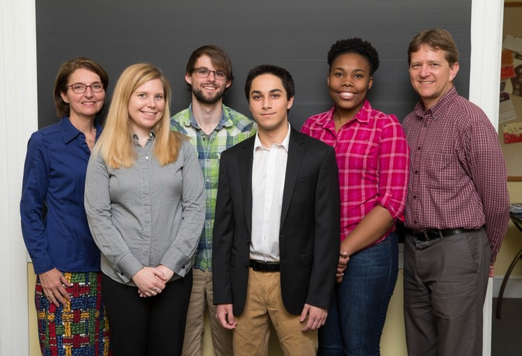 (From left) education professor Peggy Schimmoeller, biology professor Amanda Rumore, Gavin Cook '18, Danish Roshan '18, Drucilla Williams '18, and physics professor Peter Sheldon.