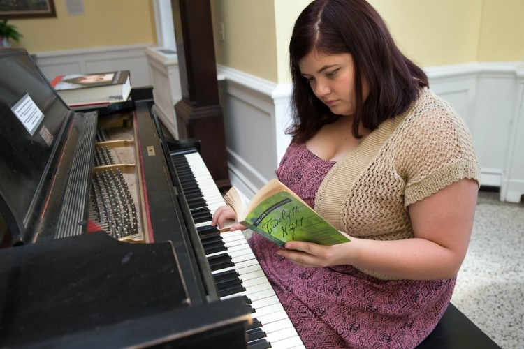 Marianne Virnelson '17 works to compose music for a scene in Twelfth Night.