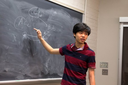 Nhut Dang '18 explains his work.