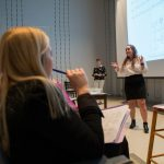 Sarah Grissom '18 explains her group's project.