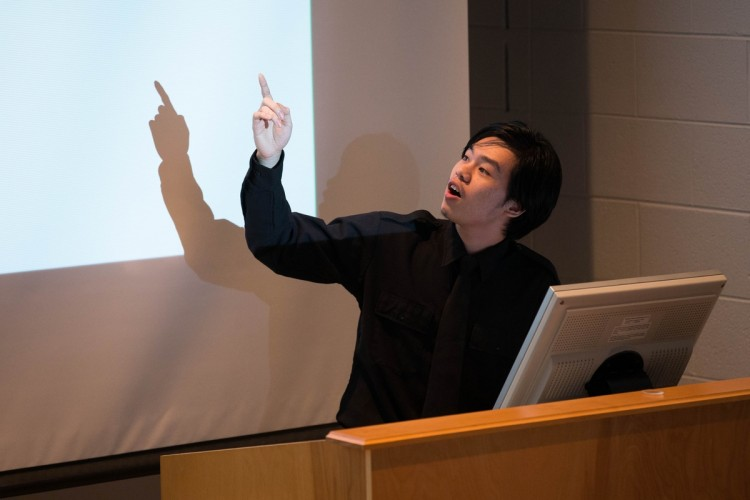 "Nhut Dang '18 explains his group's project, ""Variations of Elliptic Diffie-Hellman Problems."""