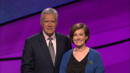 Lani Golstab Gonzalez '04 with Jeopardy! host Alex Trebek