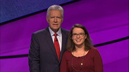 Susan Cole '03 with Jeopardy host Alex Trebek