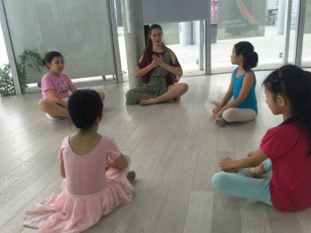 Lindsay Brents '16 teaches students in one of her classes at the Duncan Dance Academy in Shenzhen, China.