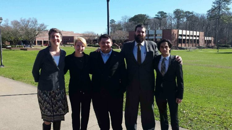 2017 Randolph College VFIC Ethics Bowl team (from left): philosophy professor Kaija Mortensen, Katya Schwab '17, Christian Ridenour '18, political science professor Vincent Vecera, and Danish Roshan '18