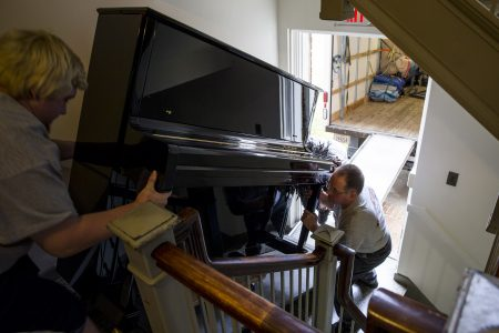 One of the new pianos being delivered to Randolph College.