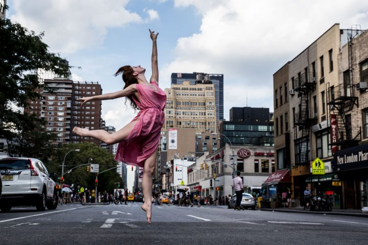 Rachel Carder '17 performing one of the poses of the Isadora Duncan style of dance in New York City (Photo by Michael Mansfield, imagesbymichaelmansfield.com)
