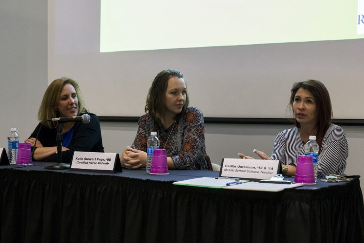 Leslie Ann Jones '93, Katie Stewart Page '08, and Caitlin Unterman '12, '14 M.A.T., served as Women in Science panelists for the Randolph College Science Festival.