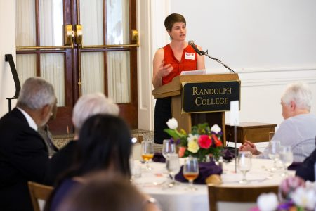 Margaret Krome-Lukens '07 speaks at the Symposium of Artists and Scholars luncheon