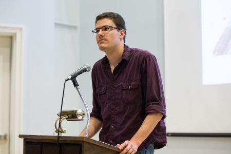 Holden Easterbrook '17 presents during the Symposium of Artists and Scholars