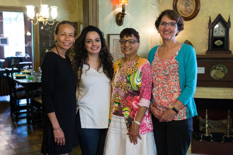 From left, Shaun Spencer-Hester, Nour Elkhamra '17, education professor Consuella Woods, and education professor Peggy Schimmoeller