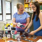Education professor Cheryl Lindeman and Jasmine Fowler '20 craft more blocks for their